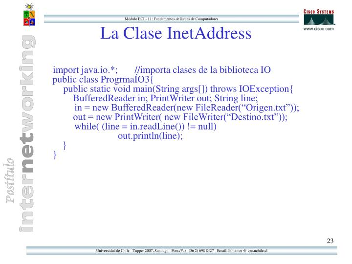 La Clase InetAddress