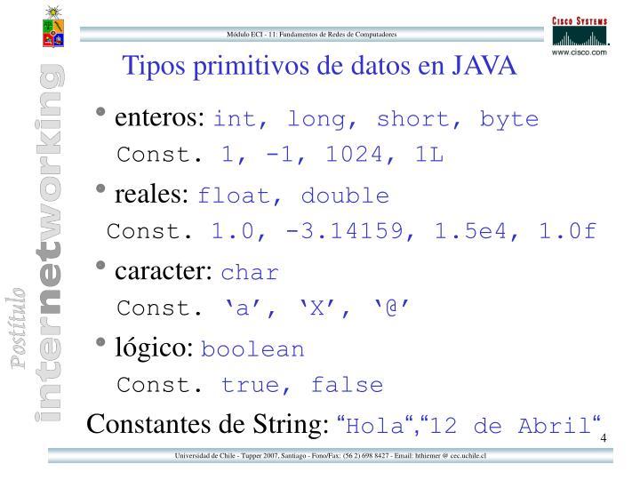 Tipos primitivos de datos en JAVA