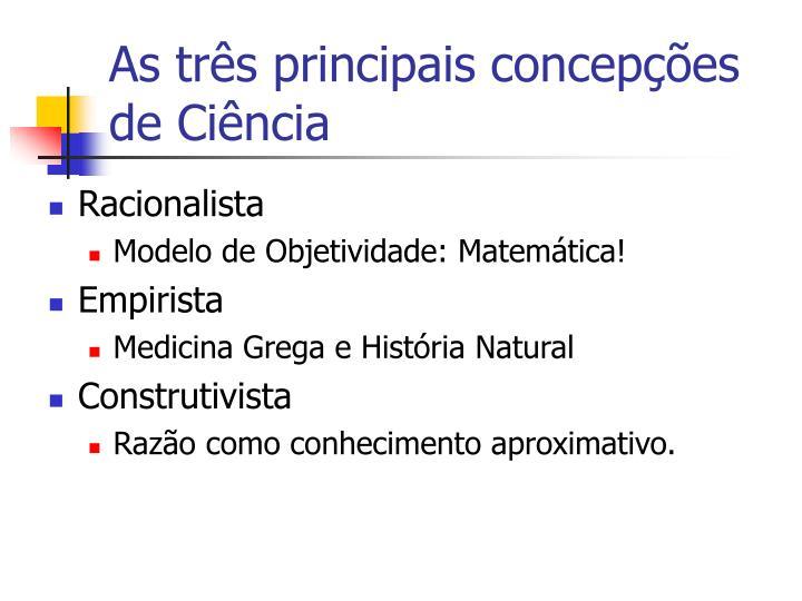 As três principais concepções de Ciência