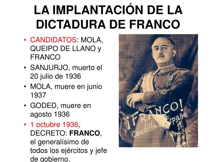 LA IMPLANTACIÓN DE LA DICTADURA DE FRANCO