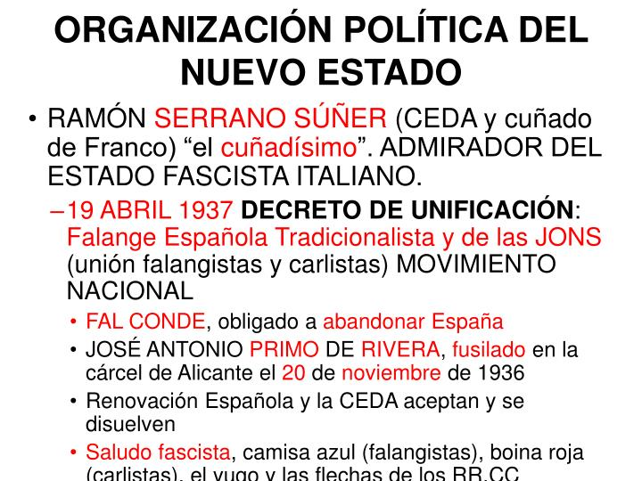 ORGANIZACIÓN POLÍTICA DEL NUEVO ESTADO