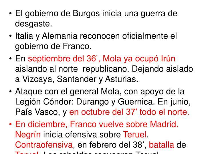 El gobierno de Burgos inicia una guerra de desgaste.