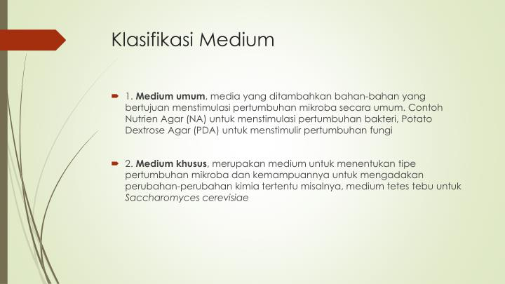 Klasifikasi Medium