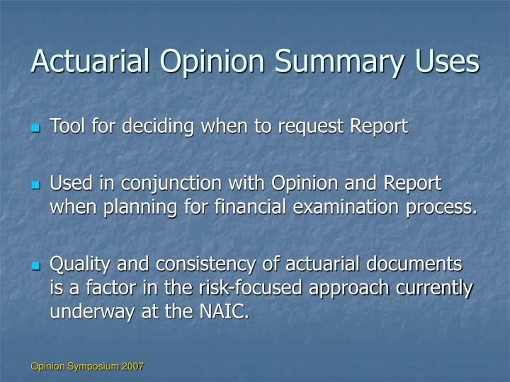 Actuarial Opinion Summary Uses