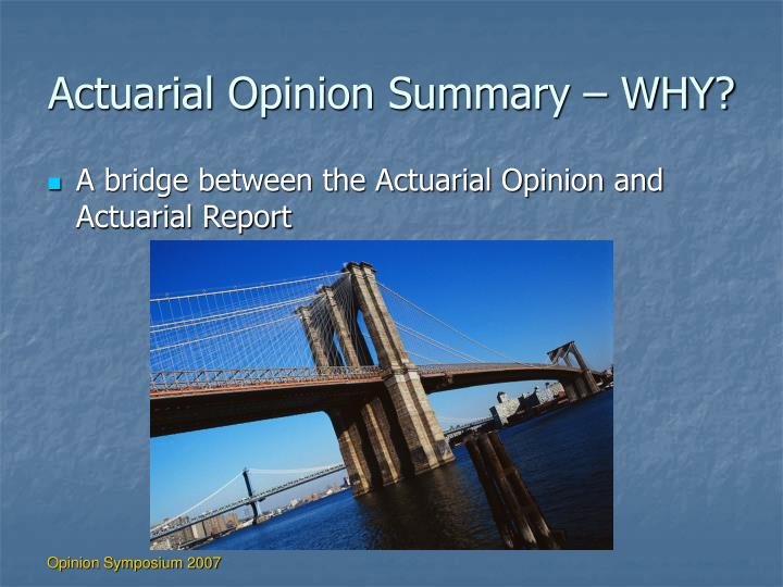 Actuarial Opinion Summary – WHY?