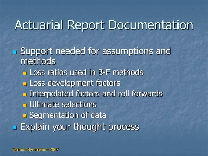 Actuarial Report Documentation