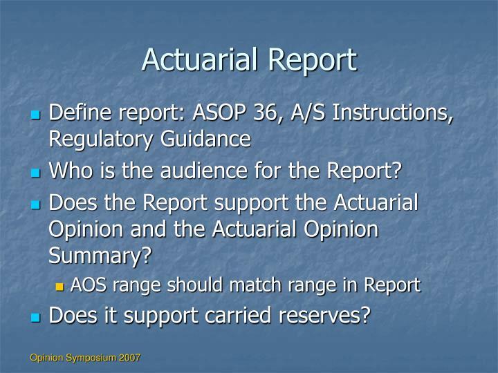 Actuarial Report
