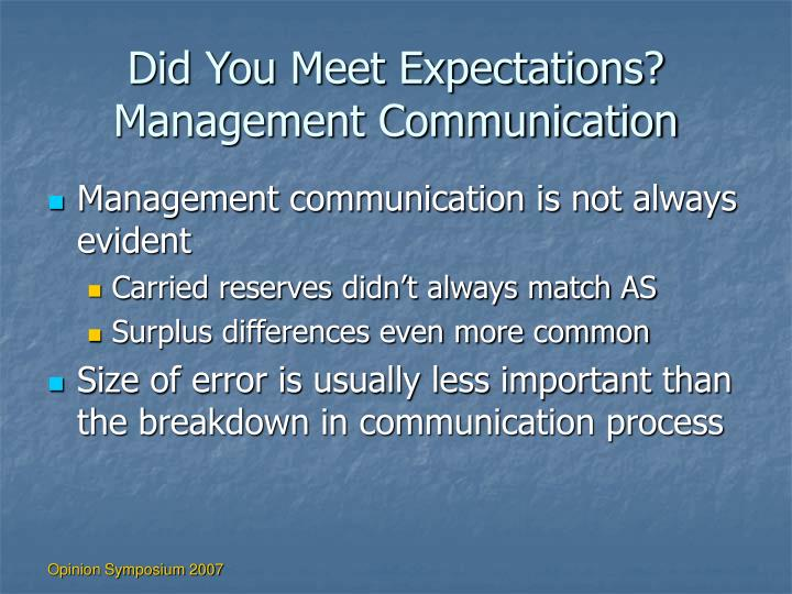 Did You Meet Expectations?