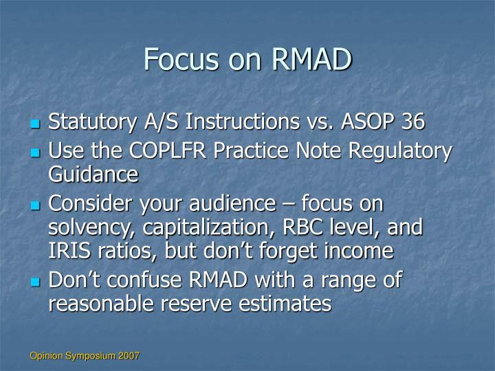 Focus on RMAD
