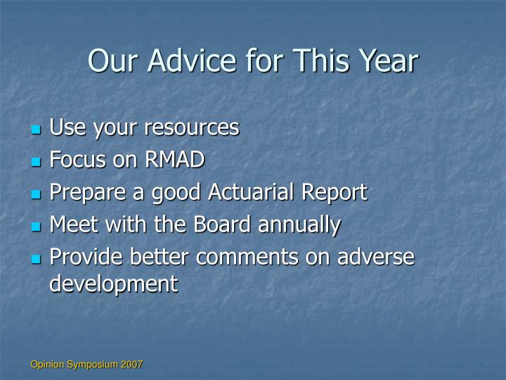 Our Advice for This Year