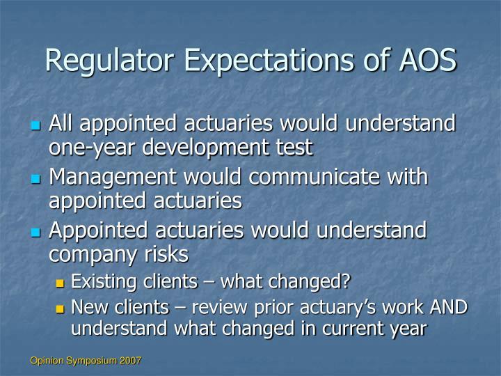 Regulator Expectations of AOS