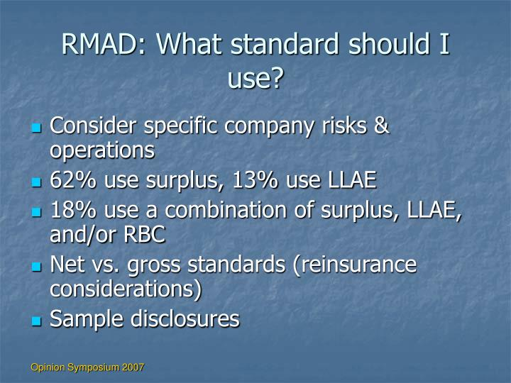 RMAD: What standard should I use?
