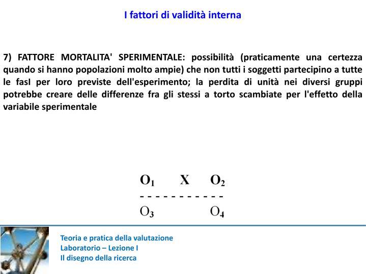 I fattori di validità interna