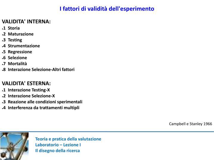 I fattori di validità dell'esperimento