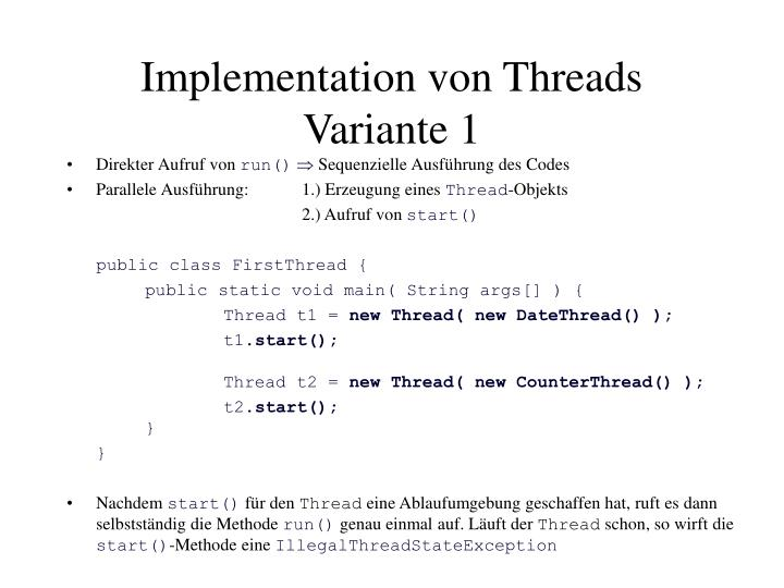 Implementation von Threads