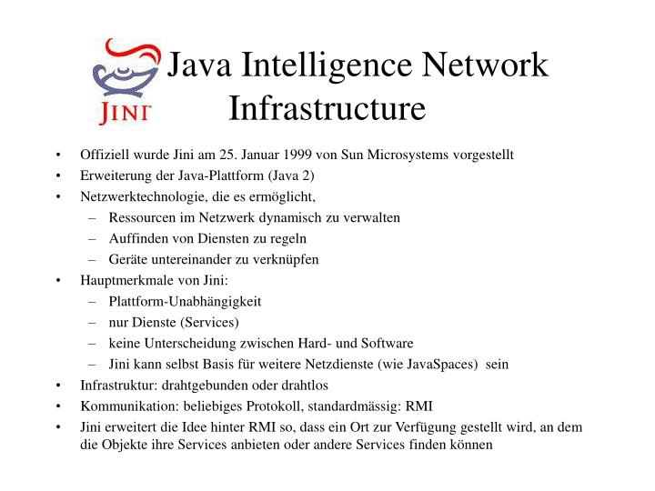 Jini Java Intelligence Network Infrastructure