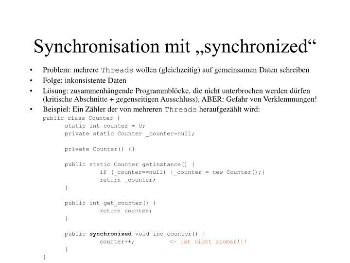 """Synchronisation mit """"synchronized"""""""