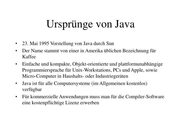 Ursprünge von Java