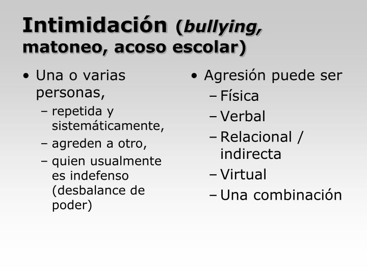 Intimidaci n bullying matoneo acoso escolar