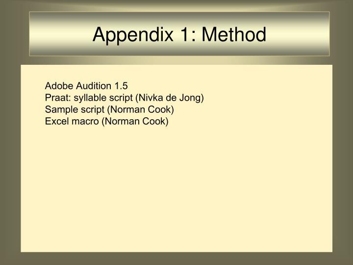 Appendix 1: Method
