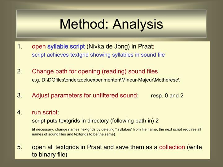 Method: Analysis