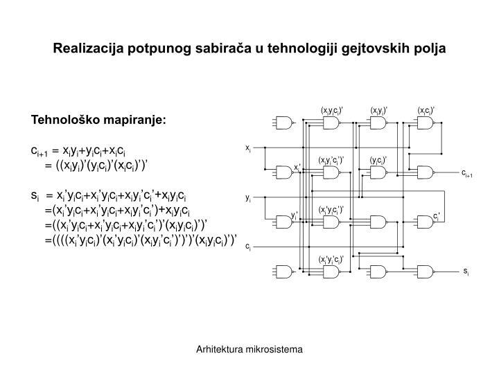 Realizacija potpunog sabirača u tehnologiji gejtovskih polja