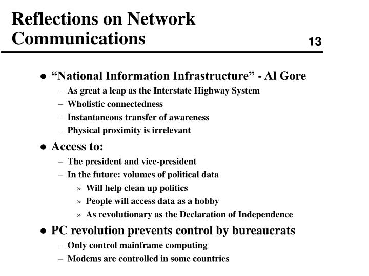 Reflections on Network Communications