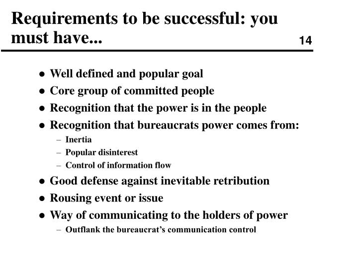 Requirements to be successful: you must have...
