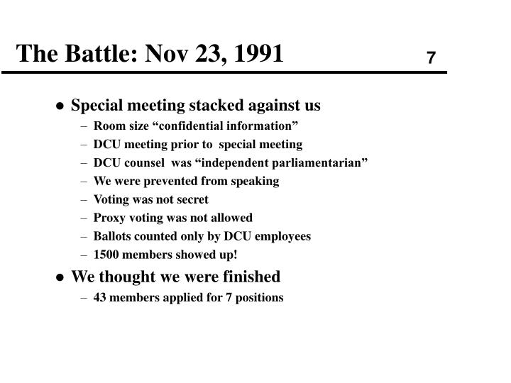 The Battle: Nov 23, 1991