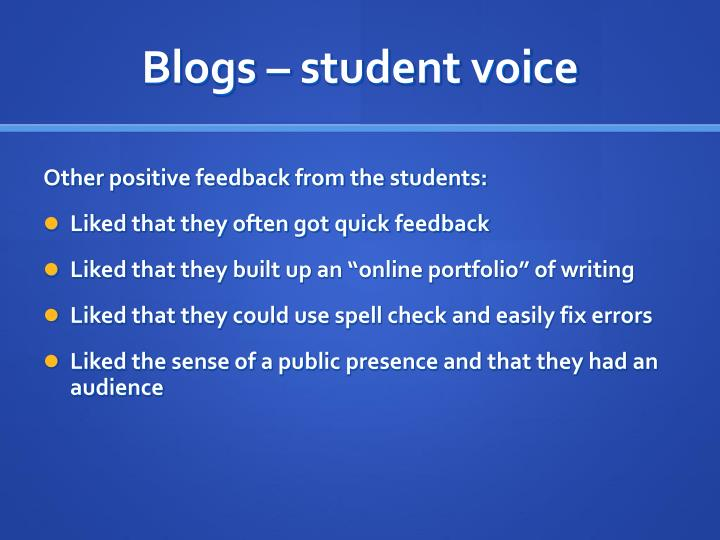 Blogs – student voice
