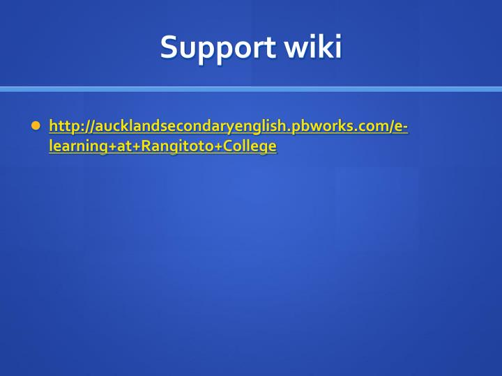 Support wiki