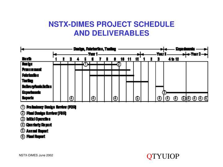 NSTX-DIMES PROJECT SCHEDULE