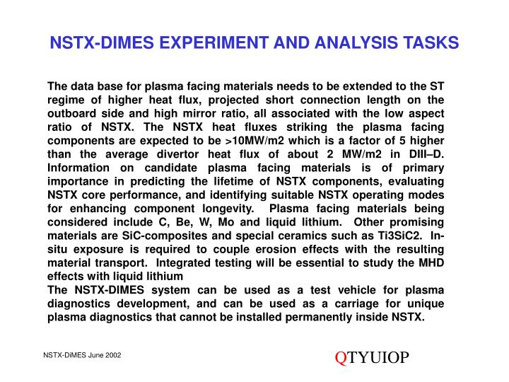 NSTX-DIMES EXPERIMENT AND ANALYSIS TASKS