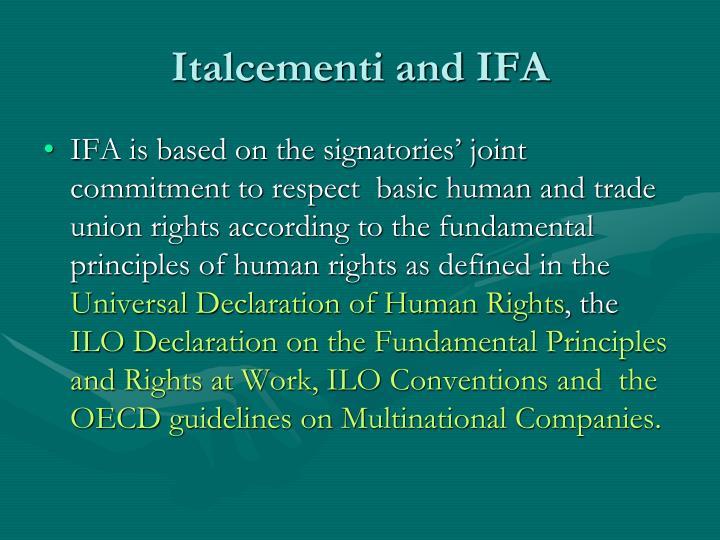 Italcementi and IFA