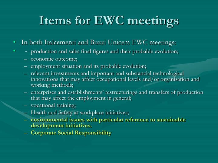 Items for EWC meetings
