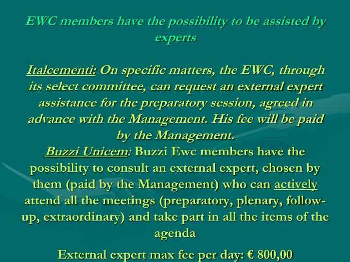 EWC members have the possibility to be assisted by experts