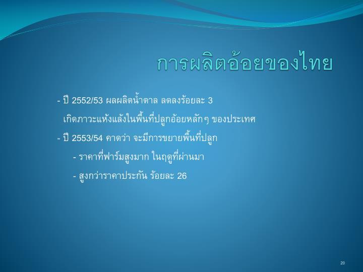 การผลิตอ้อยของไทย