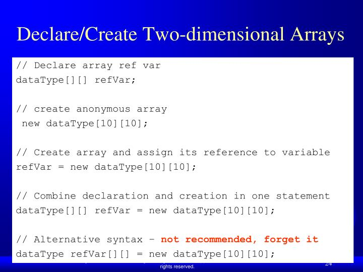 Declare/Create Two-dimensional Arrays