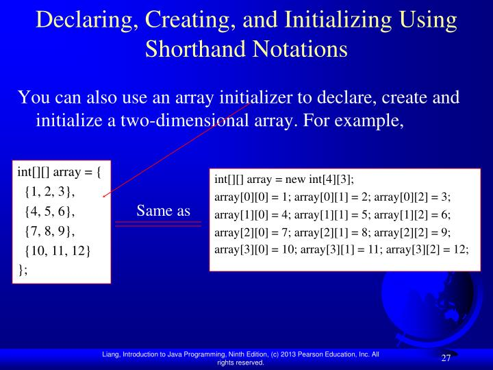 Declaring, Creating, and Initializing Using Shorthand Notations