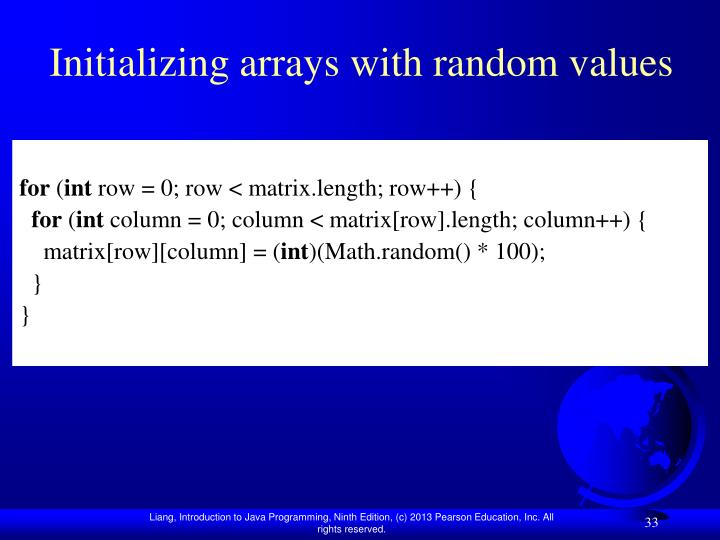 Initializing arrays with random values