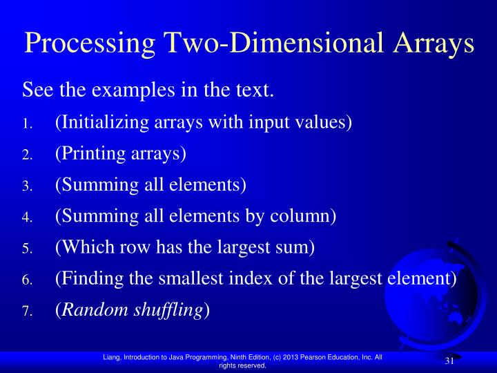 Processing Two-Dimensional Arrays