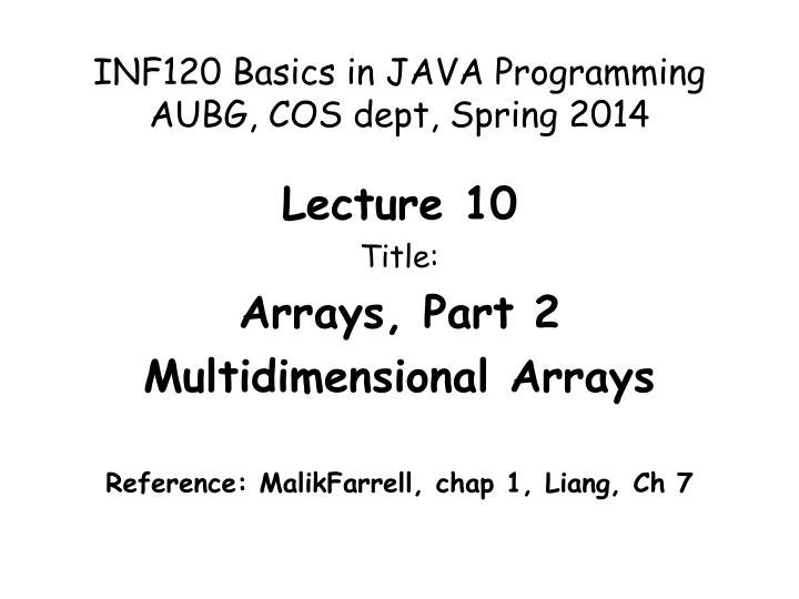 INF120 Basics in JAVA Programming