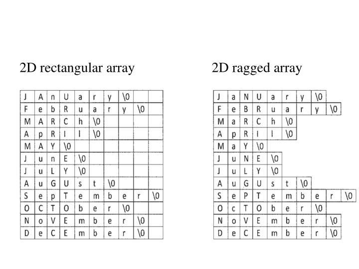 2D rectangular array                      2D ragged array