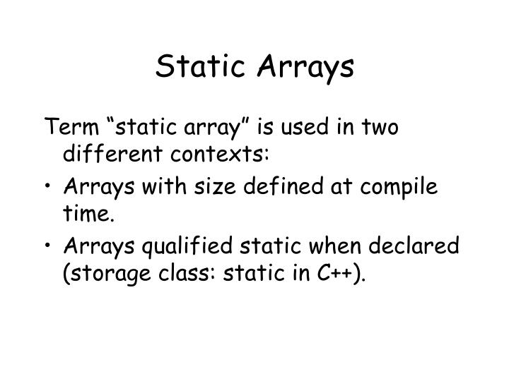Static Arrays