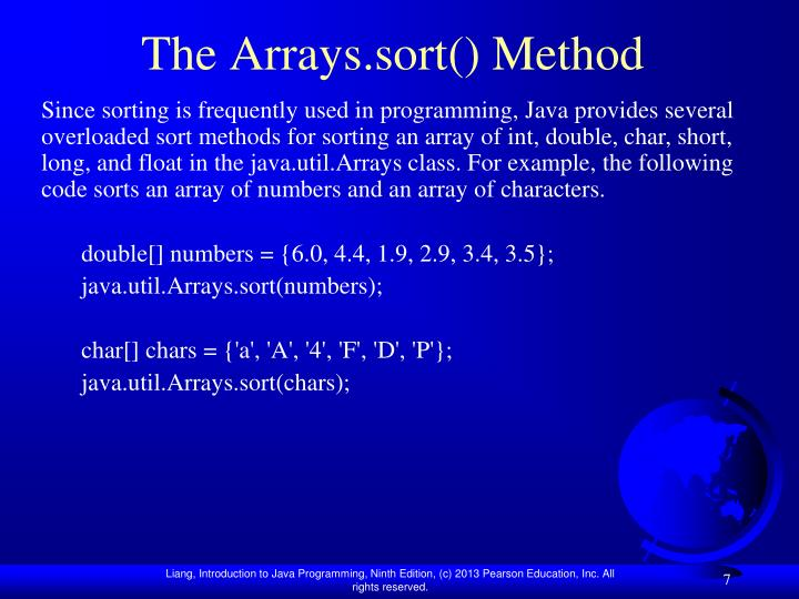 The Arrays.sort() Method