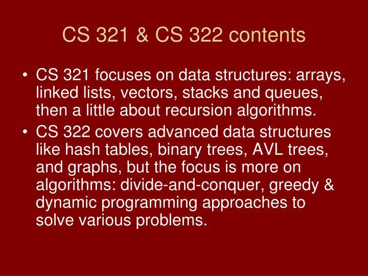 CS 321 & CS 322 contents