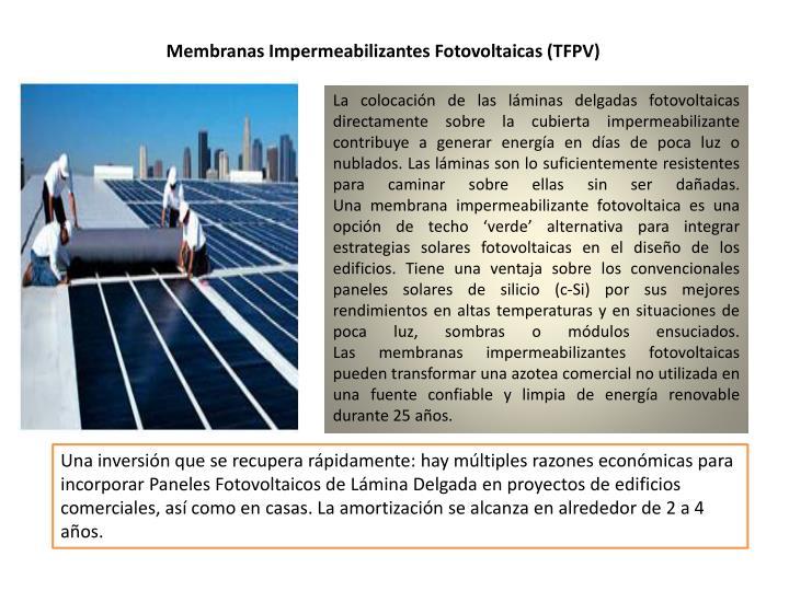 Membranas Impermeabilizantes Fotovoltaicas (TFPV)