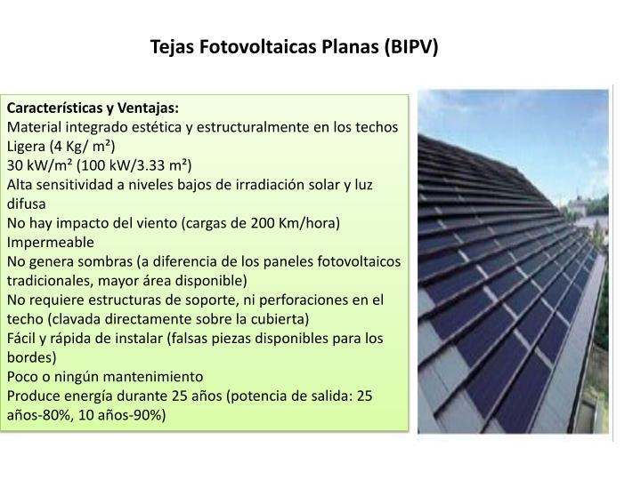 Tejas Fotovoltaicas Planas (BIPV)