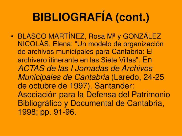 BIBLIOGRAFÍA (cont.)