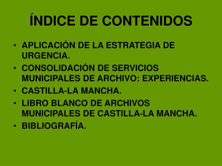 ÍNDICE DE CONTENIDOS